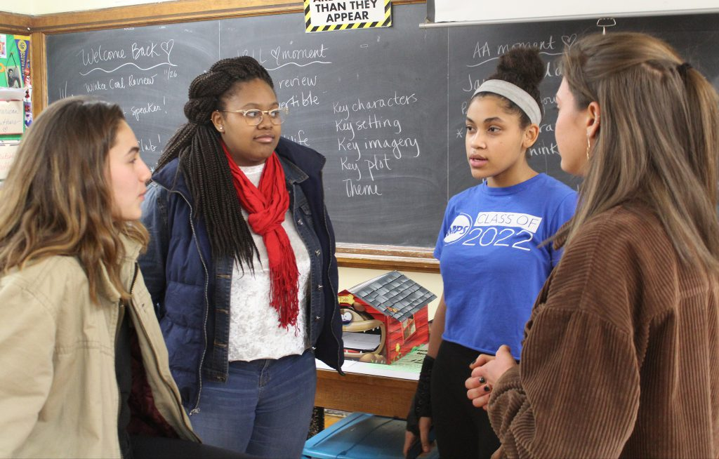 From left Estella Ramirez, Kenadee Henderson, Jaycelan Stewart and Hannah Olenchek discuss the importance of students speaking out against injustice. Photo by Allison Dikanovic/NNS.
