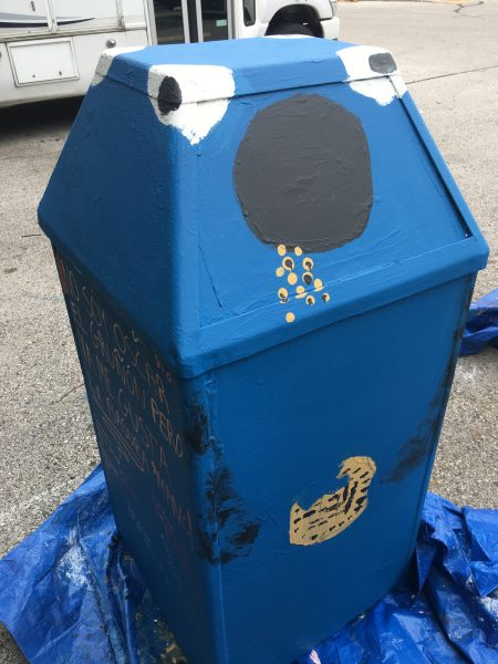 "The Cookie Monster garbage receptacle was painted by youth from Journey House. The can reads, ""I'm not Oscar the Grouch but I still like trash though, bro!"" Photo by Myron Edwards, courtesy of Safe & Sound/NNS."