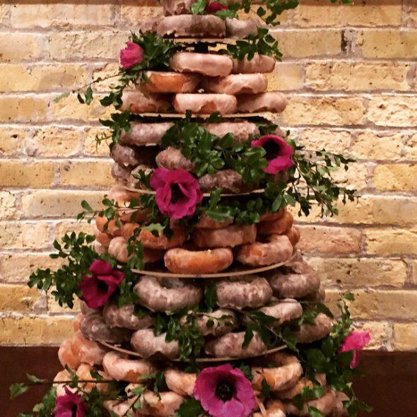 Holey Moley doughnut wedding case. Photo courtesy of Hospitality Democracy.