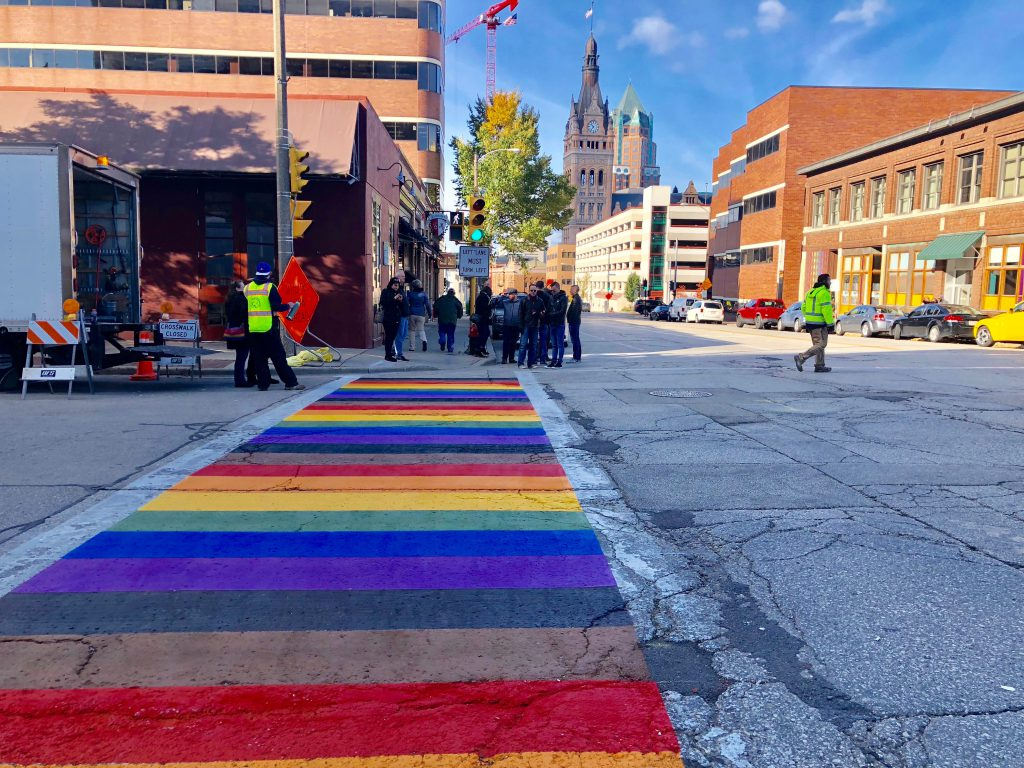 Rainbow crosswalk in front of Taylor's. Photo by Jeramey Jannene.