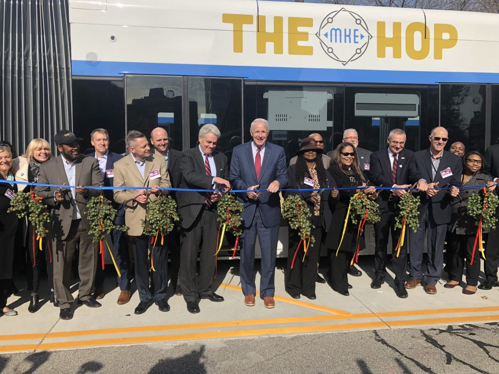 Ribbon cutting for The Hop. Photo by Jeramey Jannene.