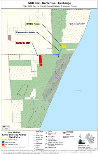 The Wisconsin Natural Resources Board has agreed to swap land with the Kohler Co. to make way for a proposed golf course. Under the deal, 4.6 acres of Kohler-Andrae State Park and a nearly 2-acre easement will be traded for 9.5 acres of Kohler property with a house and several storage buildings. Map courtesy of the Wisconsin Department of Natural Resources.