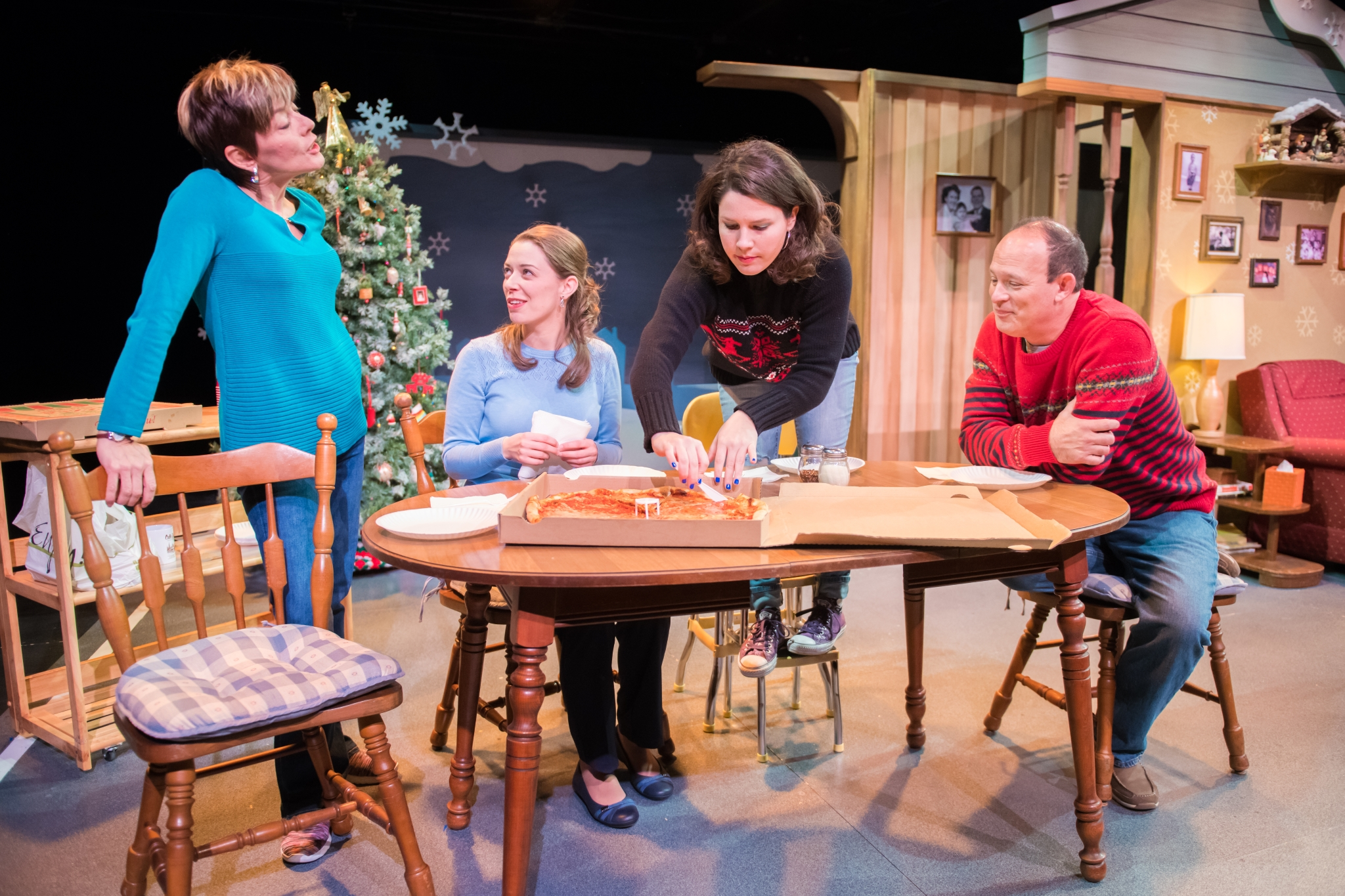 L-R: Mary MacDonald Kerr as Denise McShane, Eva Nimmer as Kelly O'Rourke, Sara Zientek as Abby McShane, Tom Klubertanz as Terry McShane. Photo by Paul Ruffolo.