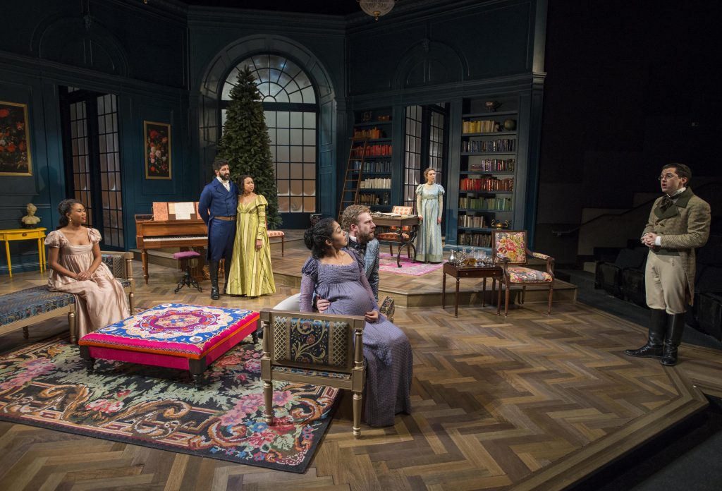 Milwaukee Repertory Theater presents Miss Bennet: Christmas at Pemberley in the Quadracci Powerhouse from November 13 – December 16, 2018. Photo by Michael Brosilow.