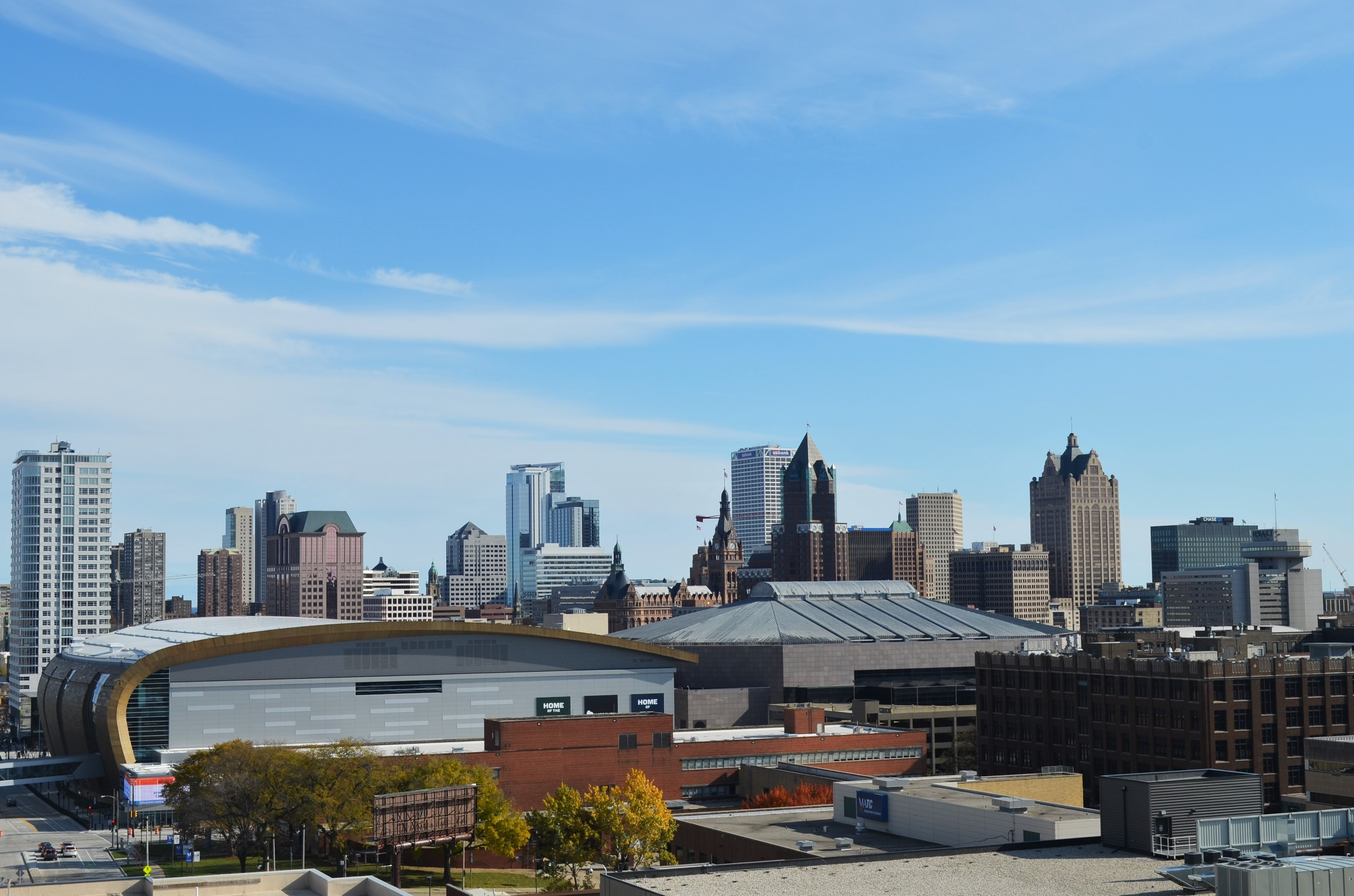 View of Downtown Milwaukee from parking structure near Pabst Milwaukee Brewery & Taproom. Photo by Jack Fennimore.