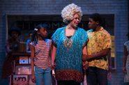(l. to r.) Terynn Erby-Walker (Little Inez), Bethany Thomas (Motormouth Maybelle) and Gilbert Domally (Seaweed J. Stubbs) in rehearsal for Skylight Music Theatre's production of Hairspray November 16 – December 30. Photo by Ross Zentner.