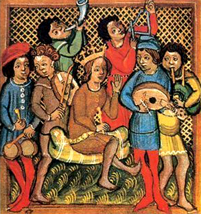 14th century musicians. Image is in the Public Domain.