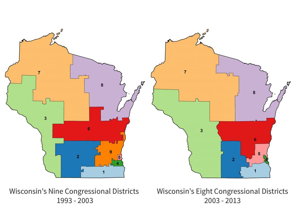 Wisconsin had nine districts in the U.S. House of Representatives from 1993-2003, but one was eliminated when all seats were reapportioned after the 2000 Census. Image by the UW Applied Population Laboratory.