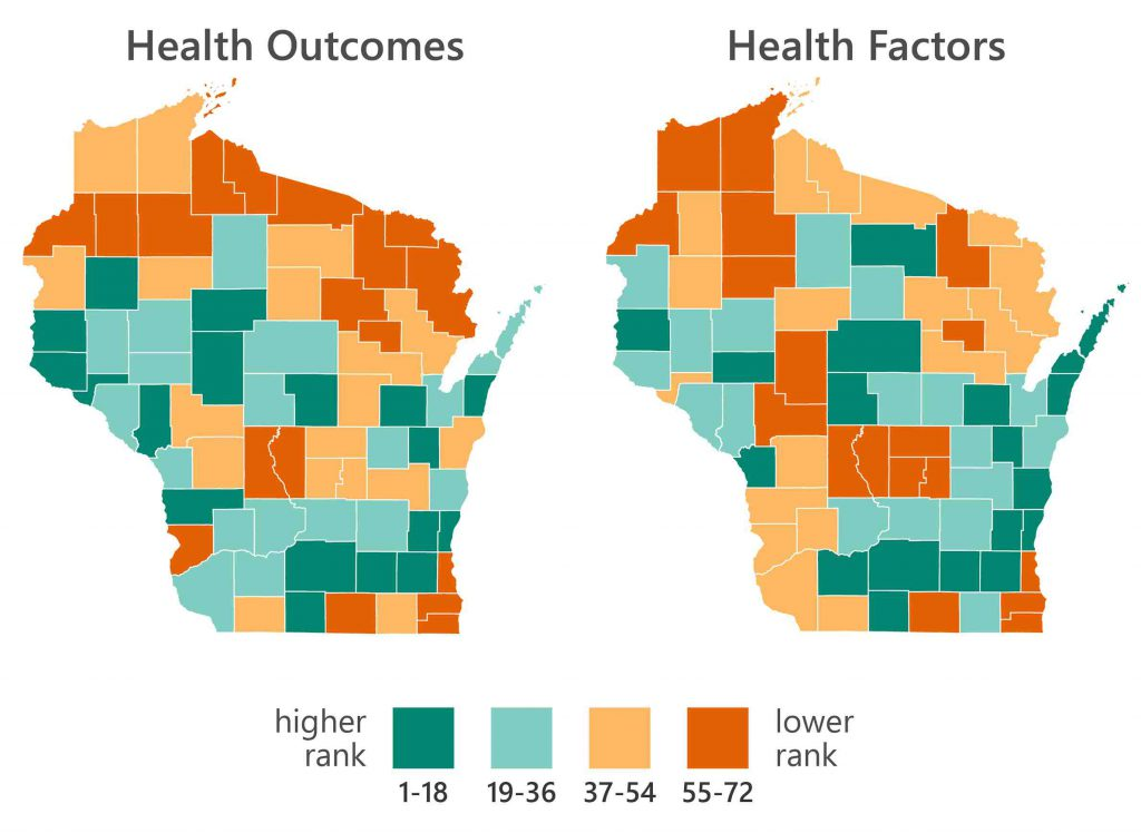 The health rankings and outcomes for all 72 Wisconsin counties are compared in side-by-side maps, with data sourced from the County Health Rankings & Roadmaps project. Graph by Caitlin Borbeau/UW Applied Population Lab.