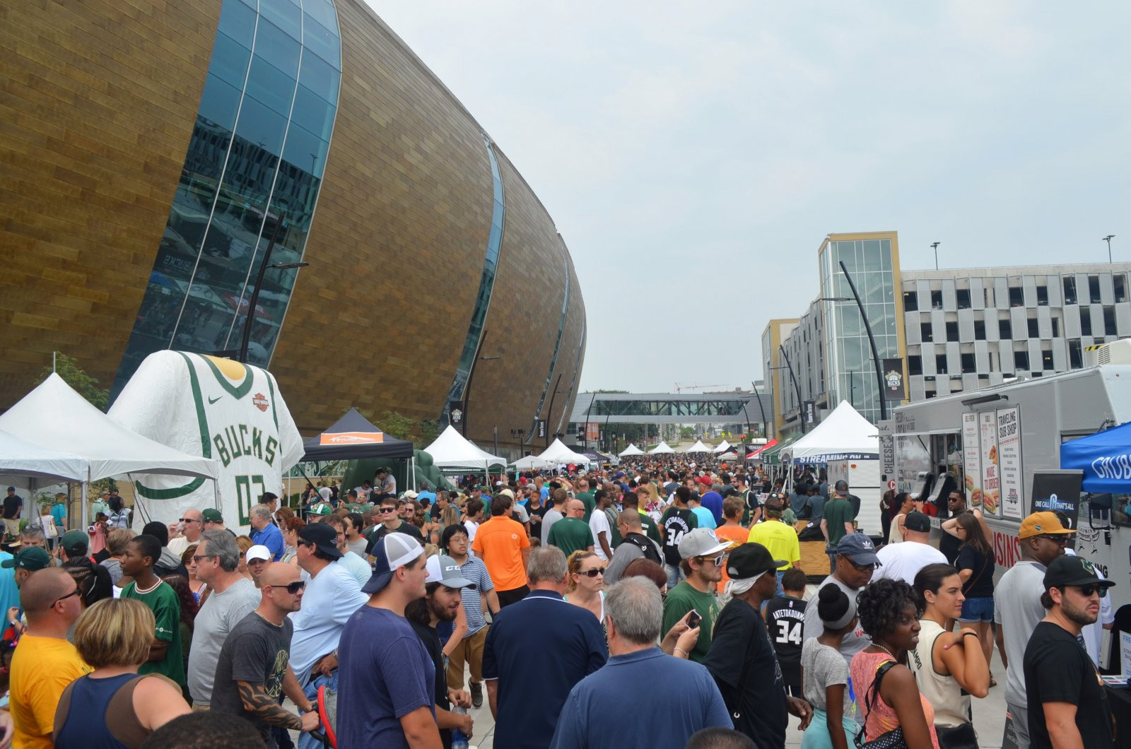 The Fiserv forum during the Milwaukee Bucks annual party block party. Photo by Jack Fennimore.