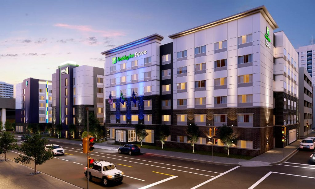 Holiday Inn Express, Home2 by Hilton and Tru by Hilton Hotels. Rendering by Base4.