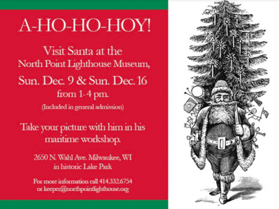 Santa to visit the North Point Lighthouse Museum Sunday Dec. 9th and Sunday Dec 16th 1-4 PM