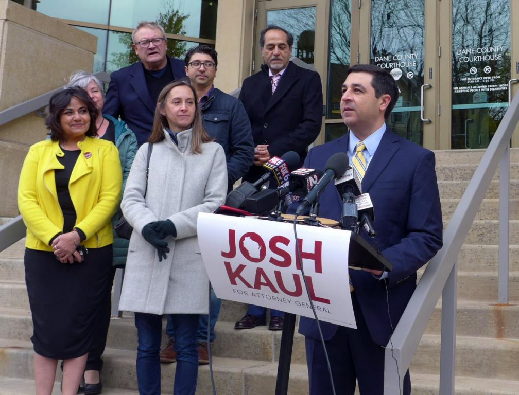 Democrat Josh Kaul declaring victory in Madison Wednesday morning. Photo by Shamane Mills/WPR.