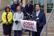 Democrat Josh Kaul declaring victory in Madison Wednesday morning. Photo by Shamane Mills/WPR.