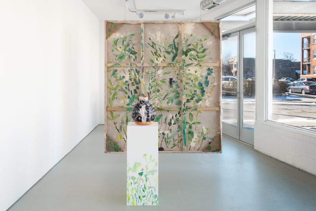 """""""Paintings and Pots"""" installation at the Green Gallery. Photo courtesy of the Green Gallery."""