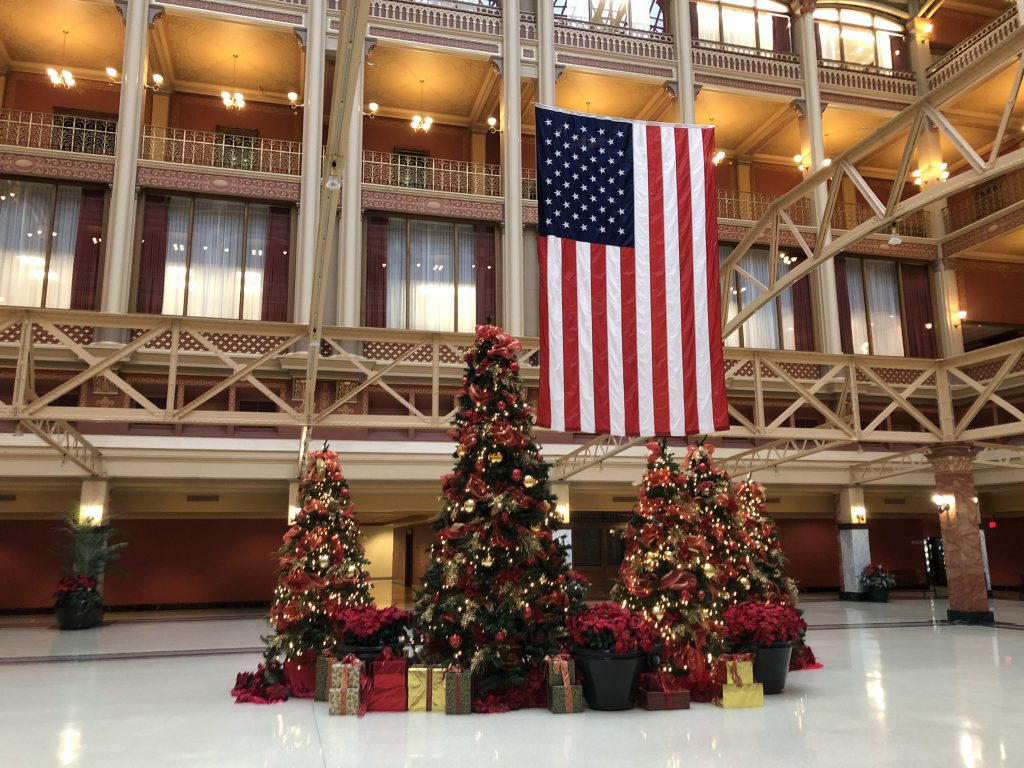 The Christmas trees at Federal Courthouse. Photo by Jeramey Jannene.