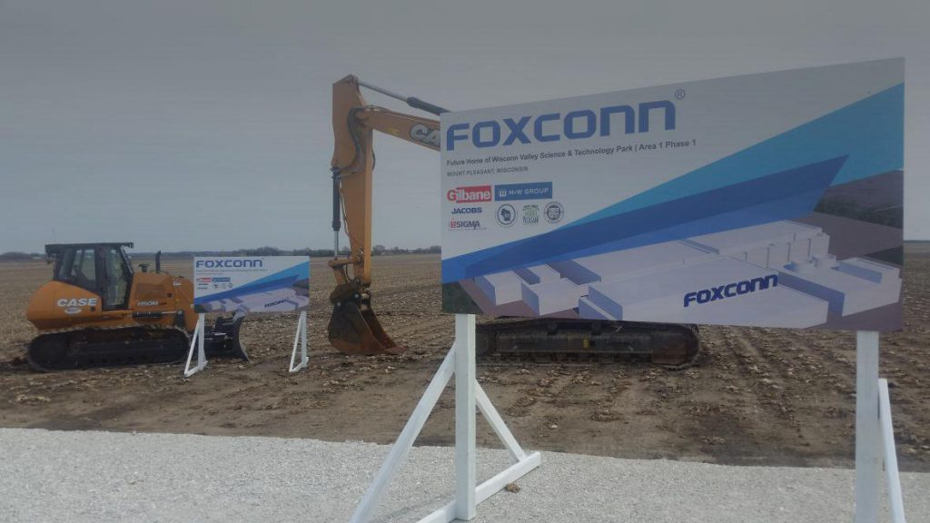 Equipment at the Foxconn construction site in Racine County ahead of groundbreaking. Photo by Chuck Quirmbach/WPR.