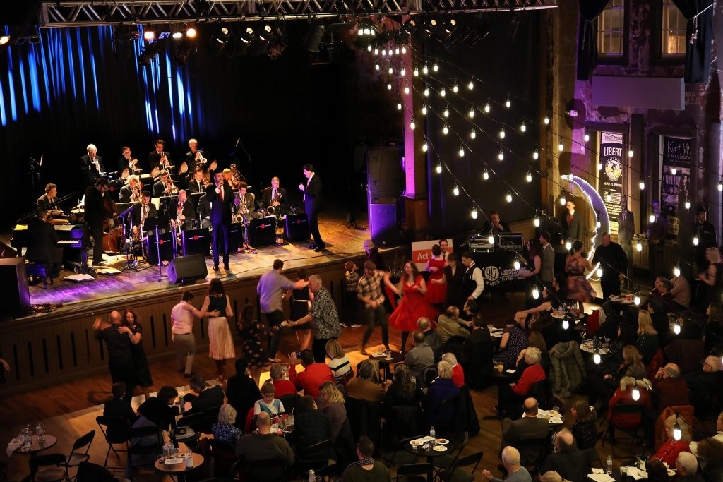 WMSE's 5th Annual Big Band Grandstand w/ Dewey Gill featuring the Chicago Jazz Orchestra's Big Band Cavalcade and Gala & Silent Auction was held at Turner Hall Ballroom on Sunday December 9, 2018. Photo by Erol Reyal.