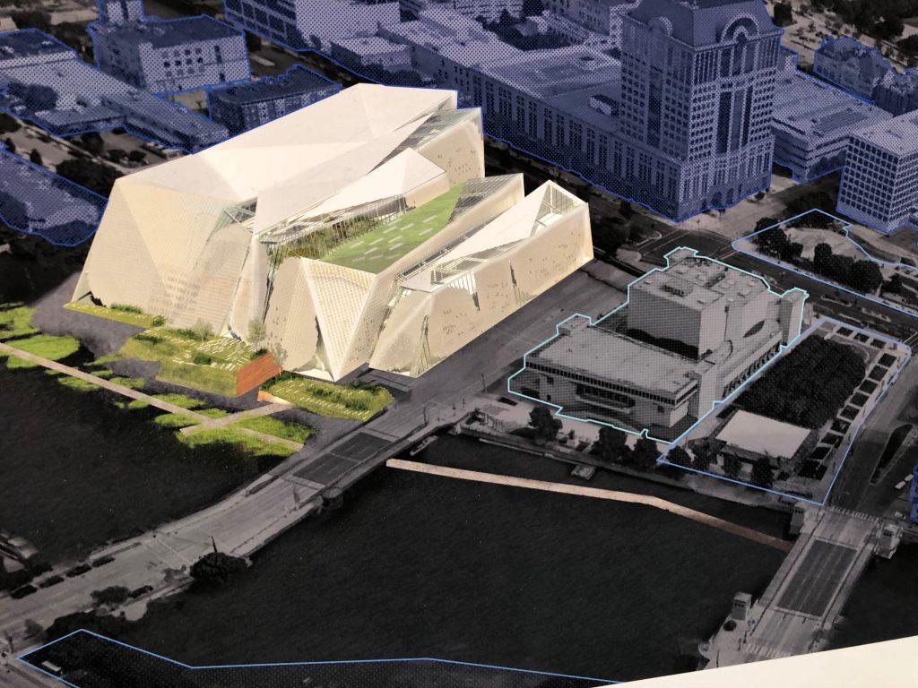 Museum campus design concept. Rendering from UWM Marcus Prize Studio.
