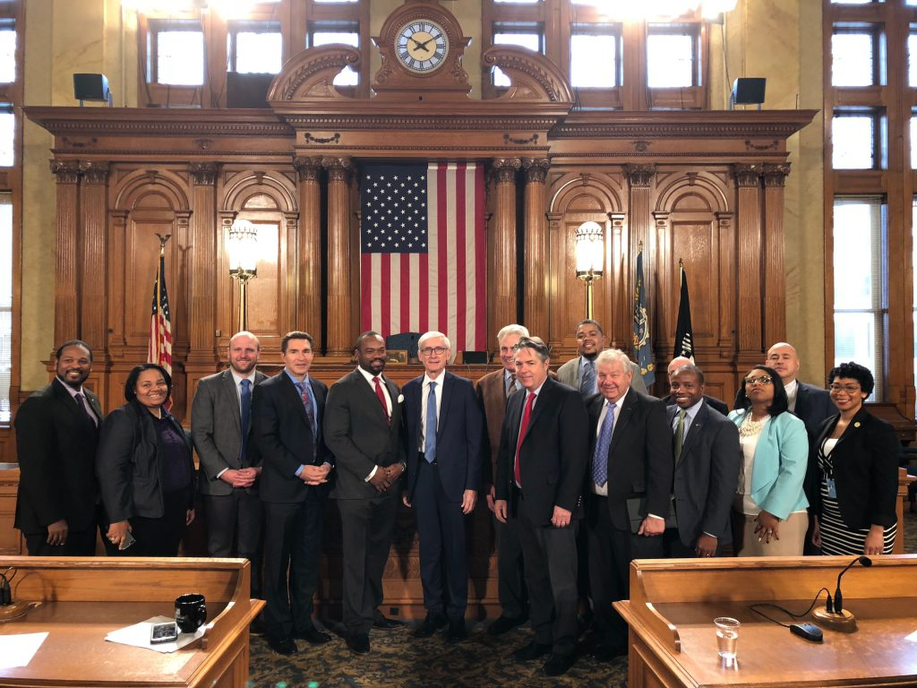 Governor-elect Tony Evers visit Milwaukee City Hall. Photo by Jeramey Jannene.