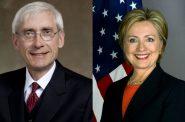 Tony Evers and Hillary Clinton