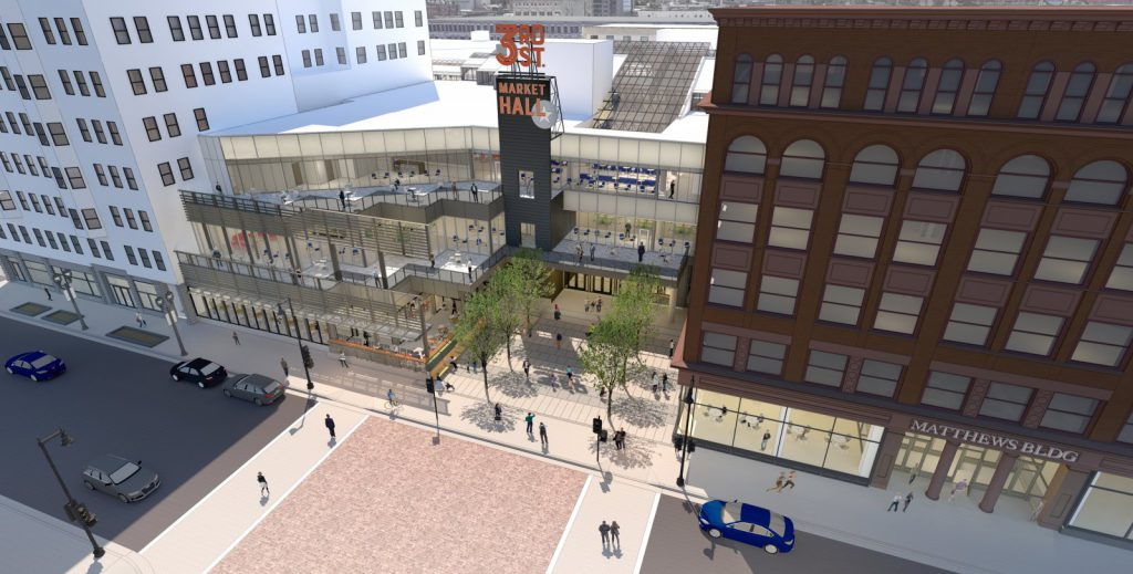 3rd Street Market Hall and new plaza. Rendering by TKWA UrbanLab.