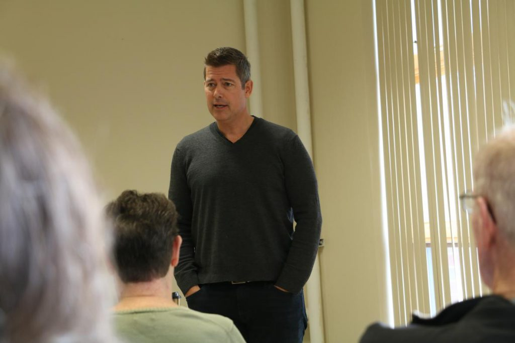 U.S. Rep. Sean Duffy speaking to constituents at the Ladysmith Public Library during a town hall meeting on Friday, Dec. 14, 2018. Photo by Rich Kremer/WPR.