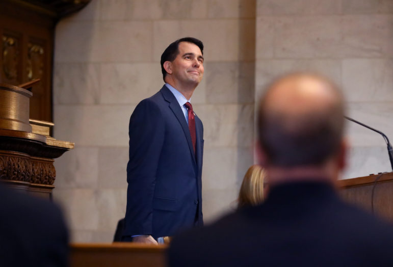 Gov. Scott Walker has declared war on waste, fraud and abuse in state government, saying in 2017 that his administration had saved taxpayers an estimated $150 million in Medicaid and FoodShare fraud and overpayments. But home health care providers and family planning clinics say they have been unfairly targeted for paperwork errors. He is seen here at his state budget address at the Wisconsin State Capitol in Madison on February 2, 2017. Photo by Coburn Dukehart/Wisconsin Center for Investigative Journalism.