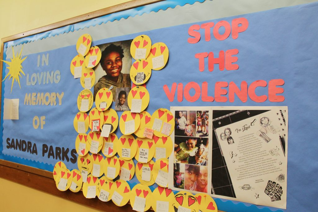 Middle school students at Keefe Avenue School decorated a board in the hallway with emojis to honor their classmate, Sandra Parks. Photo by Allison Dikanovic/NNS.