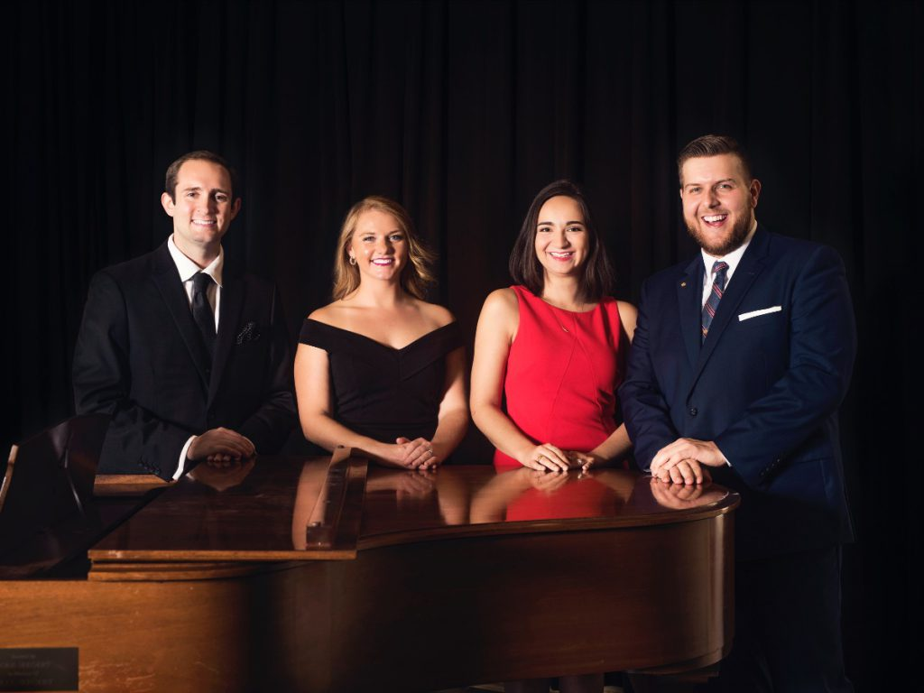 The 2018-2019 Baumgartner Studio Artists (Left to right): Baritone Nathaniel Hill, Soprano Nicole Heinen, Mezzo-soprano Briana Moynihan and Tenor Nicholas Huff. Photo courtesy of the Florentine Opera Company.
