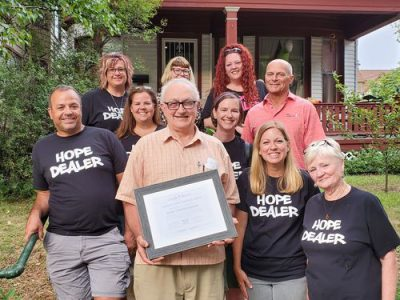 Street Angels gives the first Jeanne Lowry Service Award to Don Timmerman of Casa Maria