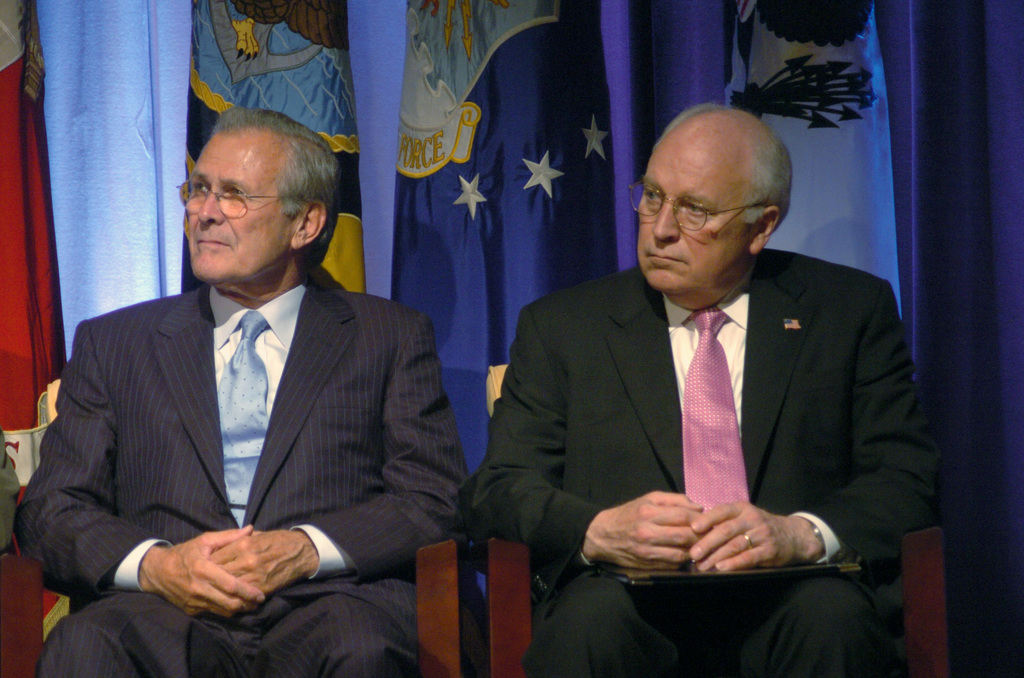 Donald Rumsfeld and Dick Cheney. Photo is in the Public Domain.
