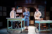 Neil Brookshire* (Maurice Wilkins), Cassandra Bissell* (Rosalind Franklin) & Josh Krause (Ray Gosling). Photo by Ross E. Zentner.