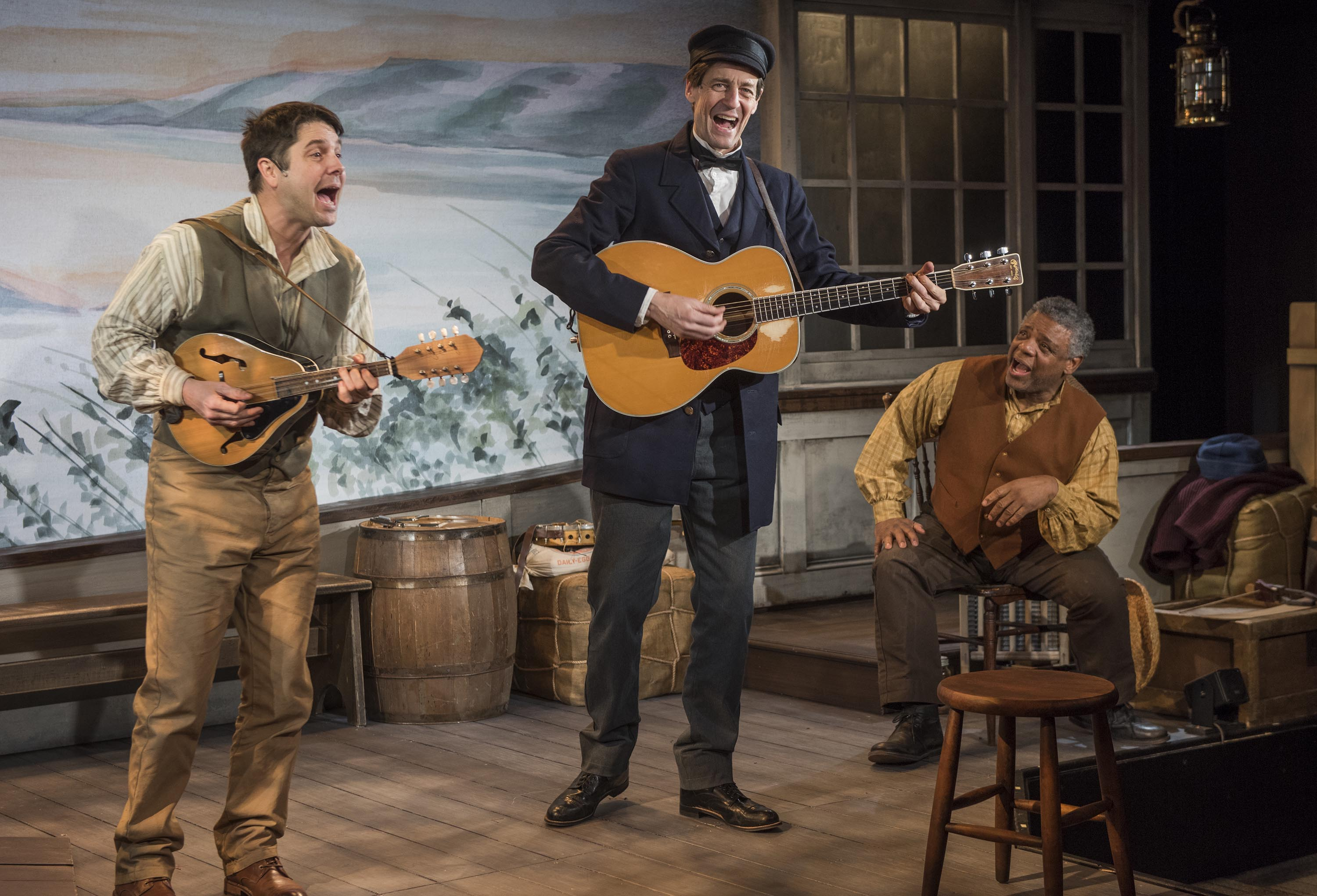 Milwaukee Repertory Theater presents Mark Twain's River of Song in the Stacker Cabaret from January 18 – March 17, 2019. L to R: Spiff Weigand, David Lutken, Harvy Blanks. Photo by Michael Brosilow.