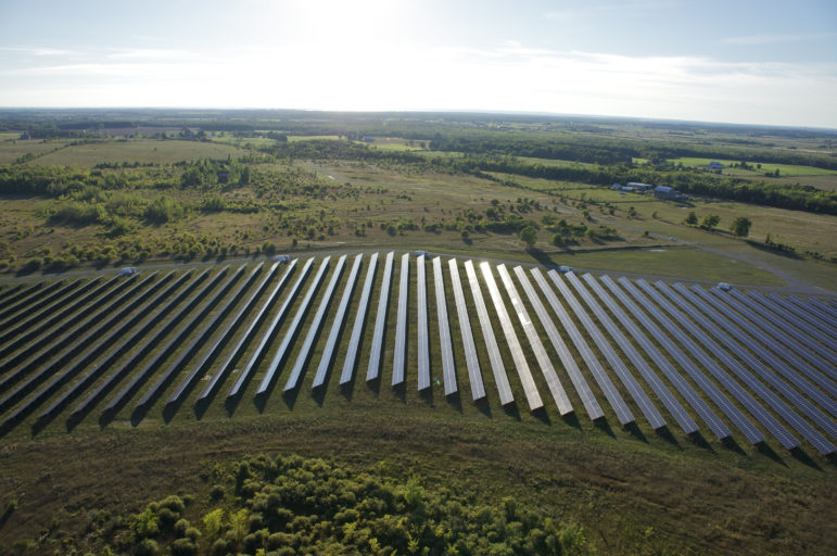 This is Invenergy's Sandringham solar site in Kawartha Lakes, Ontario, Canada northeast of Toronto. Invenergy plans to build the Midwest's largest solar project on 3,500 acres of flat farmland in Iowa County, Wis. Invenergy's renewable energy manager, Dan Litchfield, says the Badger Hollow site would be visually similar. Photo courtesy of Invenergy/WICJ.