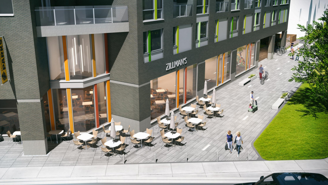 Archer Avenue plaza. Rendering by Korb + Associates Architects.