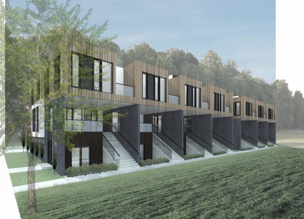 Arlington Row townhouses. Rendering by Striegel-Agacki Studio.
