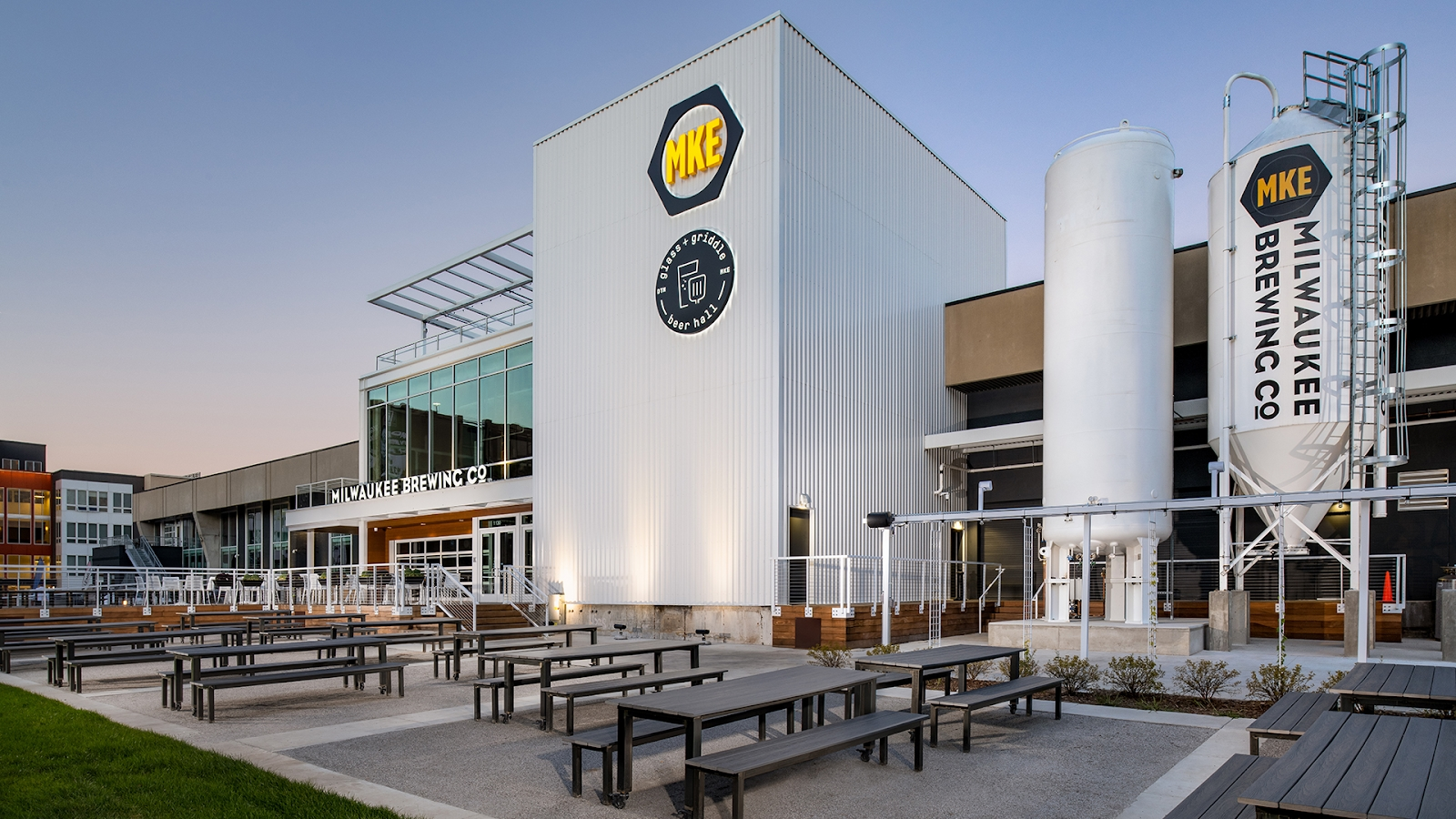 Glass + Griddle and MKE Brewing Co. beer garden. Photo courtesy of F Street Group.