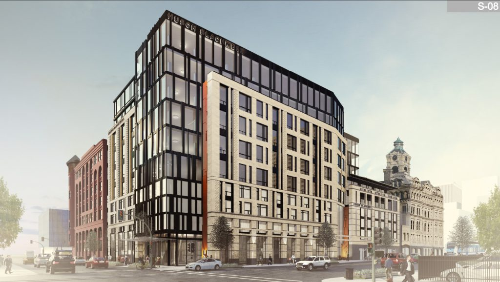 Huron Building at 511 N. Broadway. Rendering from Engberg Anderson Architects.