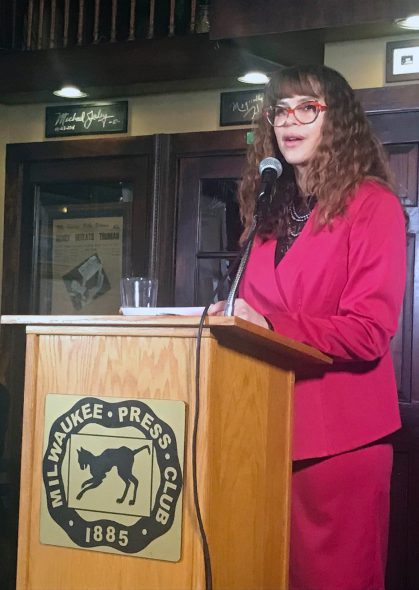 Milwaukee Health Commissioner Jeanette Kowalik speaks at the Milwaukee Press Club Wednesday, Jan. 16, 2019 in downtown Milwaukee. Photo by Corri Hess/WPR.