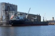 The Isolda is part of Polsteam's Great Lakes Fleet. The bulk carrier stopped at the Port of Milwaukee to load grain for shipment. Photo courtesy of Port of Milwaukee.