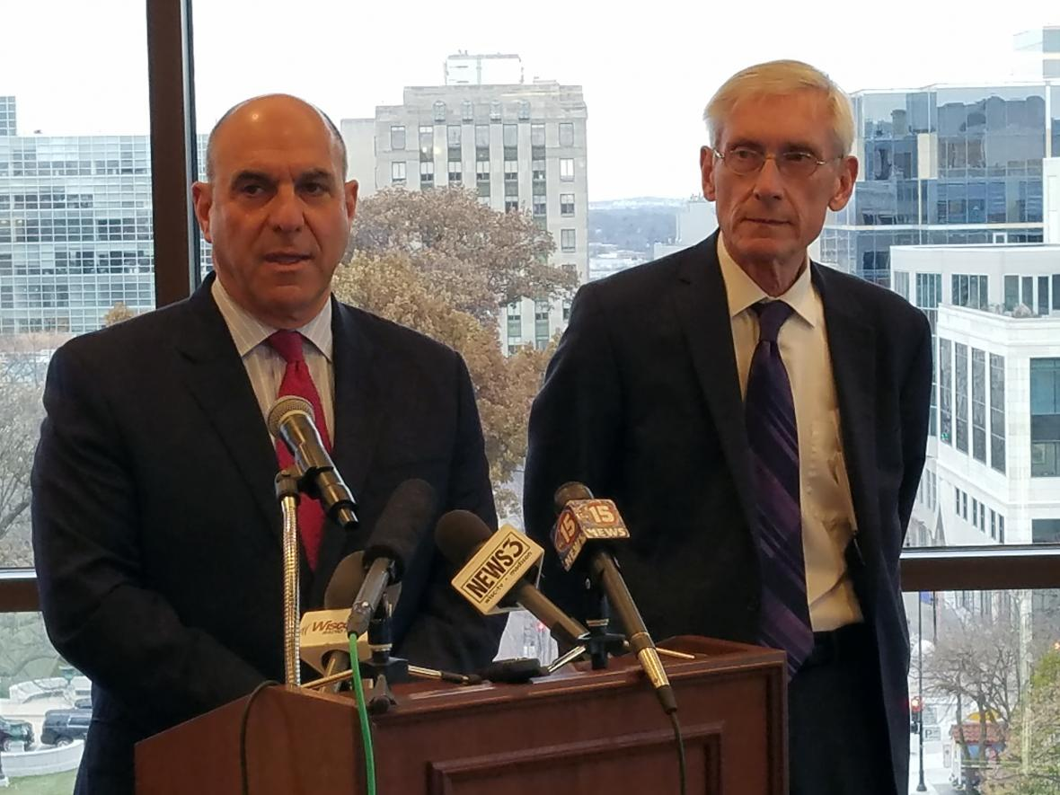 Attorney Lester Pines and Gov. Tony Evers in a November 2017 file photo. Photo by Shawn Johnson/WPR.