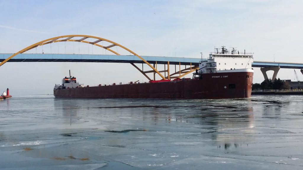 The Great Lakes freighter Stewart J. Cort passes through the Port of Milwaukee in 2017. Photo courtesy Port of Milwaukee.