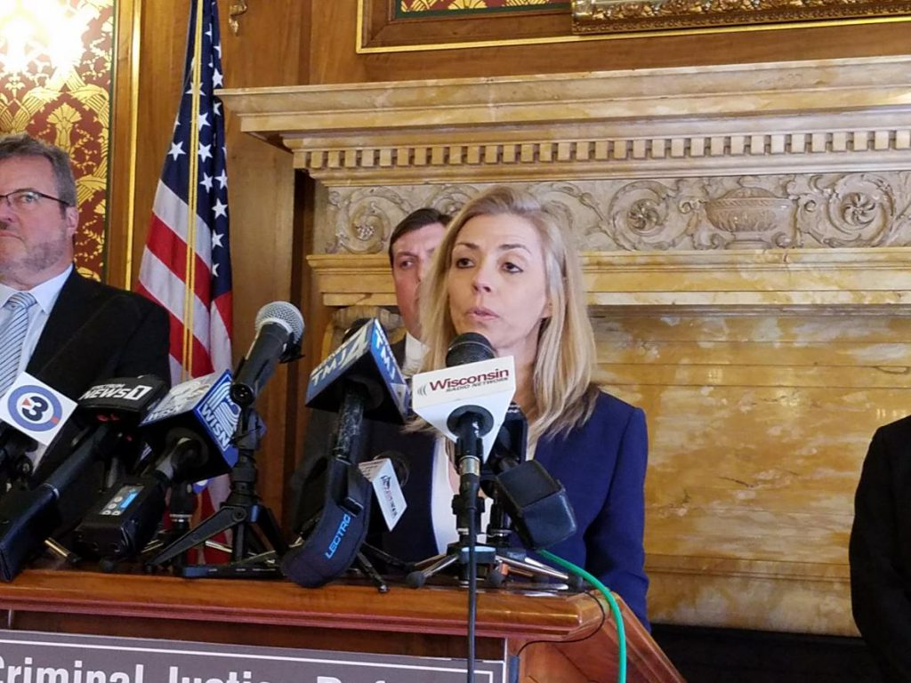 State Public Defender Kelli Thompson speaks at a state Capitol news conference Monday, Feb. 18, 2019. Thompson supports a plan that would raise the pay for private lawyers who take public defender cases from $40 per hour to $70 per hour. Photo by Shawn Johnson/WPR.