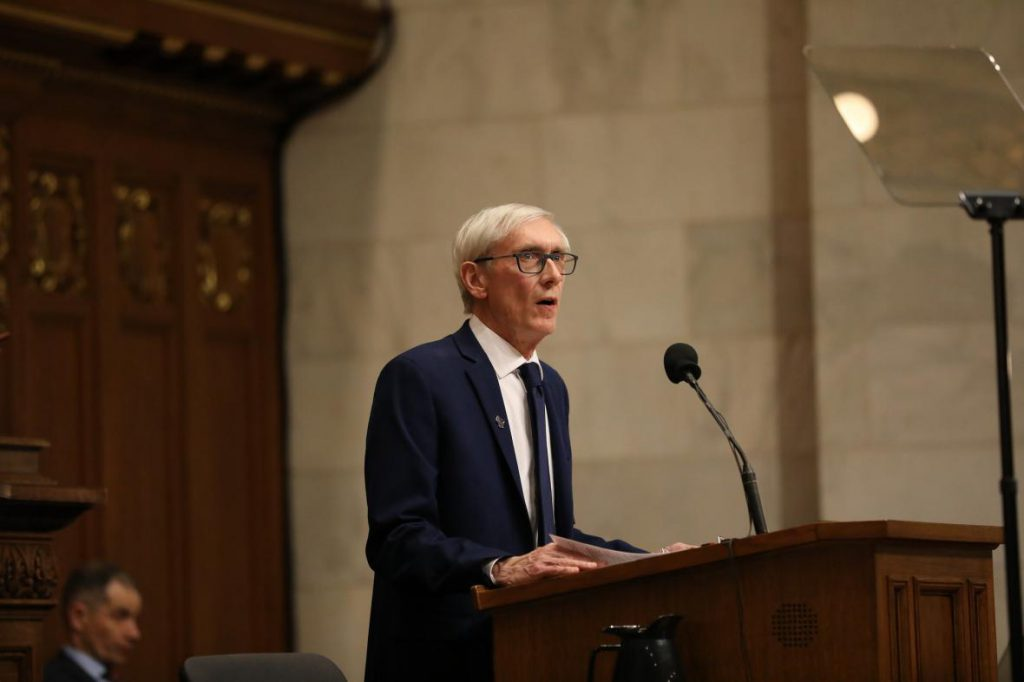 Gov. Tony Evers gives his first State of the State address in Madison, Wisconsin, at the state Capitol building on Jan. 22, 2019. Photo by Emily Hamer/Wisconsin Center for Investigative Journalism.