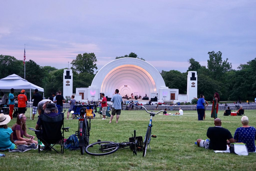 The bandshell in Washington Park is the place to be on Wednesday nights in the summer. Photo by Adam Carr/NNS.