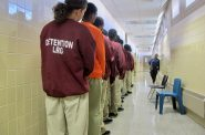 Youth line up outside of a classroom at the Vel R. Phillips Youth Detention Center, 10201 W. Plankington Rd., as part of the Milwaukee County Accountability Program (MCAP), an alternative placement to Lincoln Hills. Photo by Edgar Mendez/NNS.
