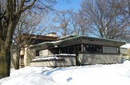 A Row of Frank Lloyd Wright homes. Photo by Carl Baehr.