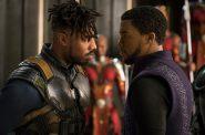 Erik Killmonger (Michael B. Jordan) and T'Challa/Black Panther (Chadwick Boseman). Photo: Matt Kennedy. ©Marvel Studios 2018.