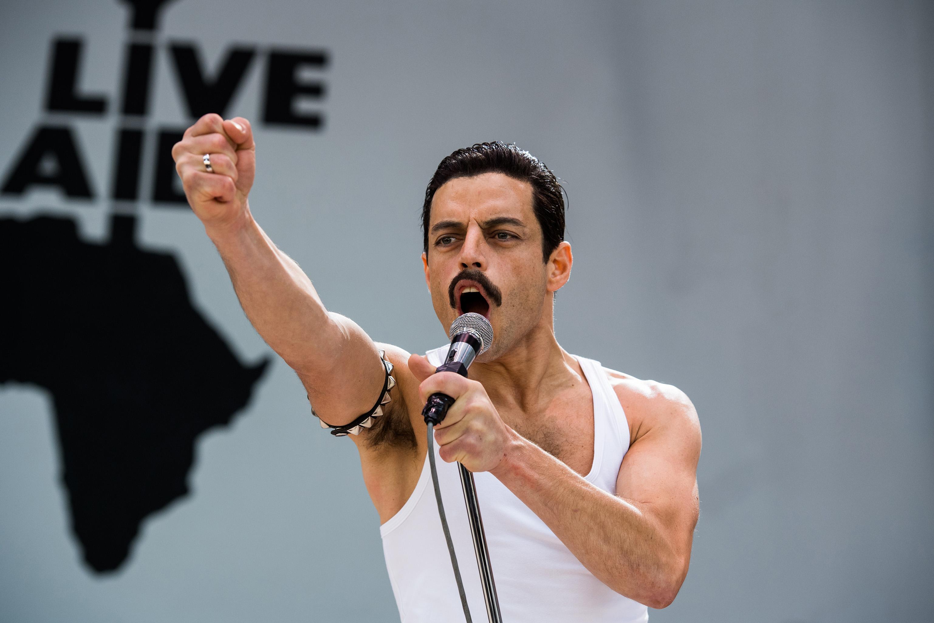 Rami Malek stars as Freddie Mercury in Twentieth Century Fox's BOHEMIAN RHAPSODY. Photo credit: Alex Bailey. TM & © 2018 Twentieth Century Fox Film Corporation. All Rights Reserved. Not for sale or duplication.